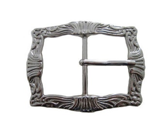 """Design Center Pin Leather Belt Buckle - Available in Zinc, Antique Silver, and Brass - Fits All 1.5"""" Wide Belts"""