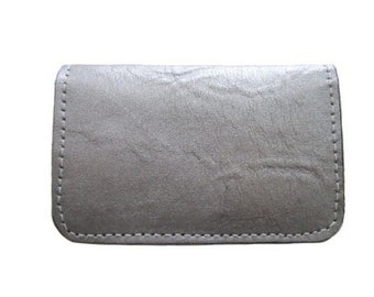 Handmade Twofold Business Leather Wallet - Available in Distressed Metallic Silver