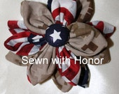 Military Flower can be made into a keychain, hair clip or pin. USMC MARPAT, Army, Navy and Air Force.