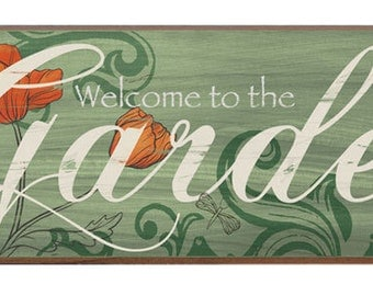 Welcome to the Garden Decorative Wood sign, Vintage Garden Decor, Two sizes Available