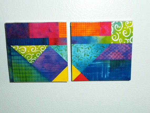 Patchwork magnets, set of two