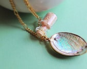 Seashell Necklace with Small Glass Bottle of Sand. Beach. Nautical. Gold Tone Chain. Summer. Whimsical. Iridescent Shell. Green.