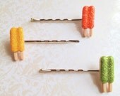 Glitter Popsicle Bobby Pins. Set of Three. Yellow. Orange. Green. Silver Tone Bobbies. Bobby Pins. Hair Accessory. Whimsical. Fun. Summer.