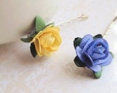 Yellow and Blue Cotton Paper Dyed Rose Bobby Pins. Set of 4. Cute. Whimsical. Wedding. Summer. Small Flowers. Hair Accessory. Bobbies.