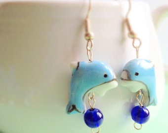 Hand Painted Blue Dolphin Dangle Earrings. Cobalt Blue. Aqua. Ceramic. Whimsical. Summer. Beach. Nautical. Cute. Hook.