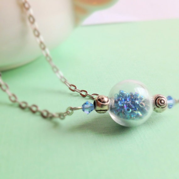 Miniature Hollow Glass Globe Necklace. Movable. Teal Seed Beads. Hand-Filled. Swarovski Crystals. Whimsical. Silver Tone Chain. Snow Globe.