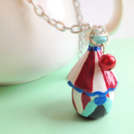 Miniature Circus Tent Necklace. Whimsical. Red. White. Sculpted Polymer Clay. Fun. Cute. Long Necklace. Silver Chain. Layering Necklace.