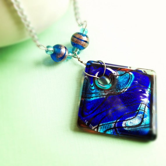 Cobalt Blue Glass Pendant with Swirls of Aqua, Silver, Black. Silver Tone Chain. Beach. Nautical. Diamond Shape. Glass. Gifts.