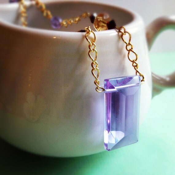 Purple Faceted Crystal Rectangle Necklace. Red. Yellow. Gold Tone Chain. Simple. Swarovski Crystals. Lavender.