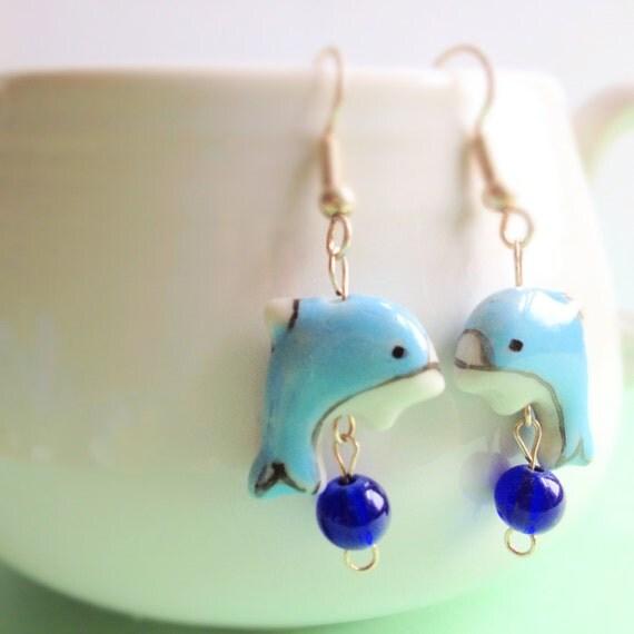 Hand Painted Blue Dolphin Dangle Earrings. Cobalt Blue. Aqua. Ceramic. Whimsical. Summer. Beach. Nautical. Cute. Hook.