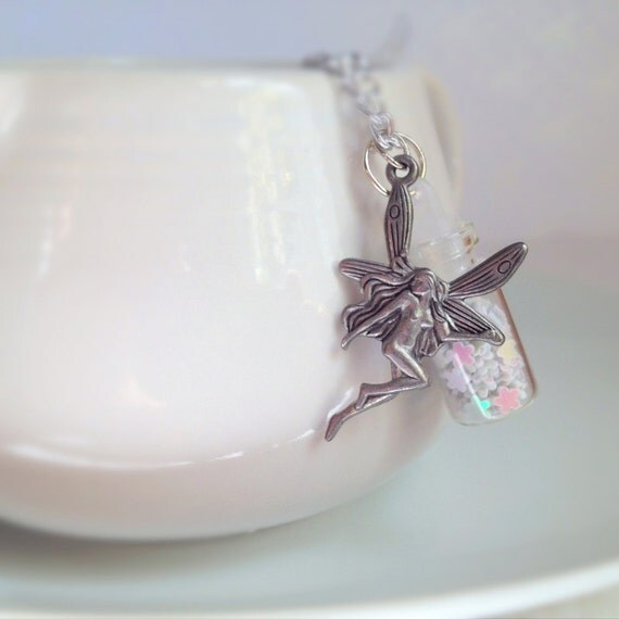 Wish Dust Necklace. Fairy. You Choose. Custom. Little Glass Bottle. Silver Tone Chain. Whimsical. Mystical. Magic. Small Bottle. Colorful.
