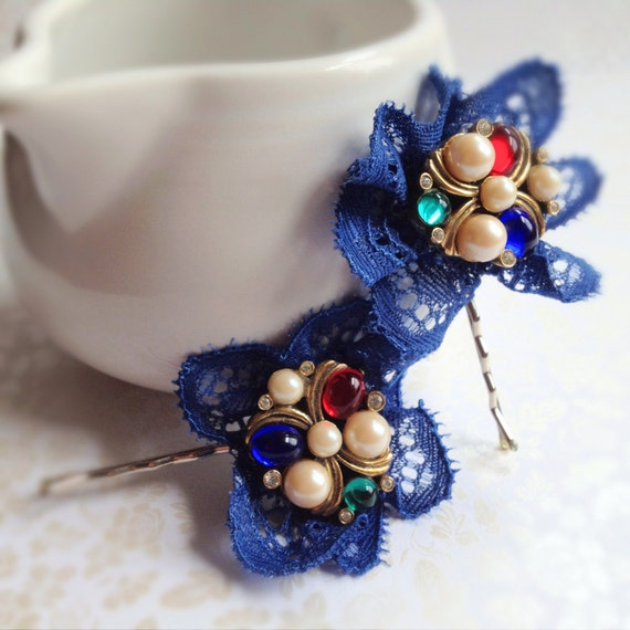 Blue Silk Lace and Vintage Pearl Bobby Pins. Set of 2. Bobbies. Hair Accessory. Red. Cobalt Blue. Green. Antique Gold. Vintage. Feminine.