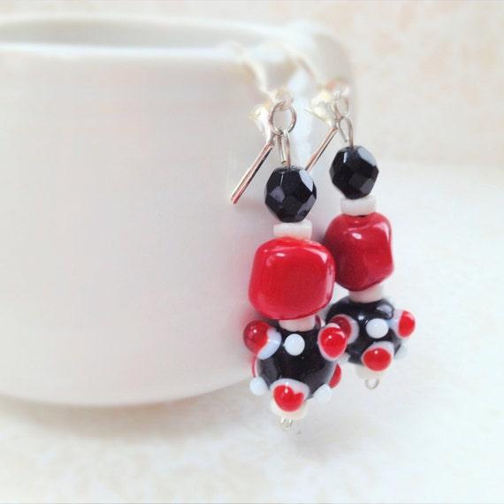 Red Coral Earrings. Black Faceted Glass Bead. Lamp-work Decorated Glass Bead. Red. Black. White. Unique Earrings. Silver. Dangle Earrings.
