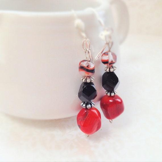 Red Coral Earrings. Black Faceted Glass Bead. Decorated Glass Bead. Red. Black. Unique Earrings. Silver. Dangle Earrings. Summer.