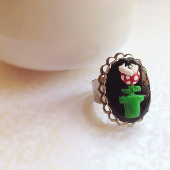 Super Mario Brothers Venus Fly Trap Ring. Red. Green. Black. Adjustable Oval Silver Ring. Geek. Video Game. Mario. Whimsical.