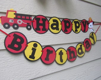 Fire Truck Dalmation Birthday Banner Can Be Personalized With Name