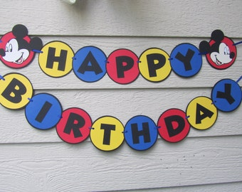 Mickey Mouse Happy Birthday Banner Garland Pennant Bunting Can be customized with name