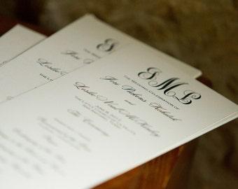 Custom Wedding Program, Tea Length with Monogram