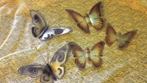 Vintage Lot of 5 Metal Butterflies Brass Wall Hangings Indoor Outdoor