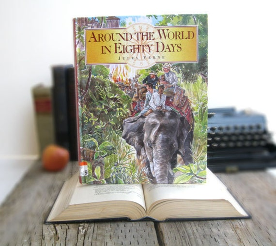 IPAD Cover- Tablet Case made from a Book- Around the World in 80 days