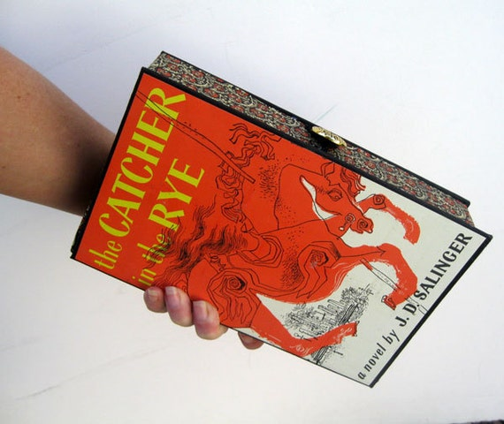 Book Clutch Purse- Catcher in the Rye (With compact pocket mirror)