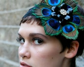 Wedding Formal Peacock Feather Flower Lace Headband - Prom Formal Hair - Flapper Inspired - Black Brooch with Gold and Swarovski Center