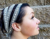 Grecian Wedding Bridal Headband, Formal Hair Accessory, Triple Strand Silver Vintage Ribbon Head Wrap with Handsewn Swarovski Crystals