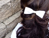 Wedding Bridal Hair Piece, Hand Sewn Ivory Satin Bow with Clip -- Formal, Prom Small Ribbon Bow