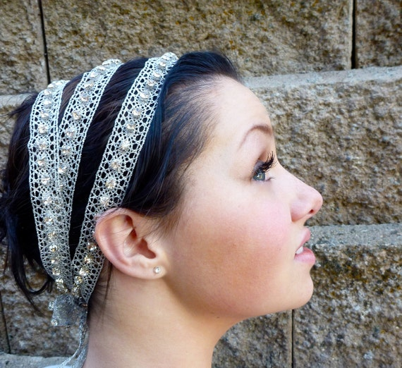 Grecian Wedding Bridal Headband, Formal Hair Accessory, Triple Strand Silver Vintage Ribbon Head Wrap with Handsewn Swarovski Crystals
