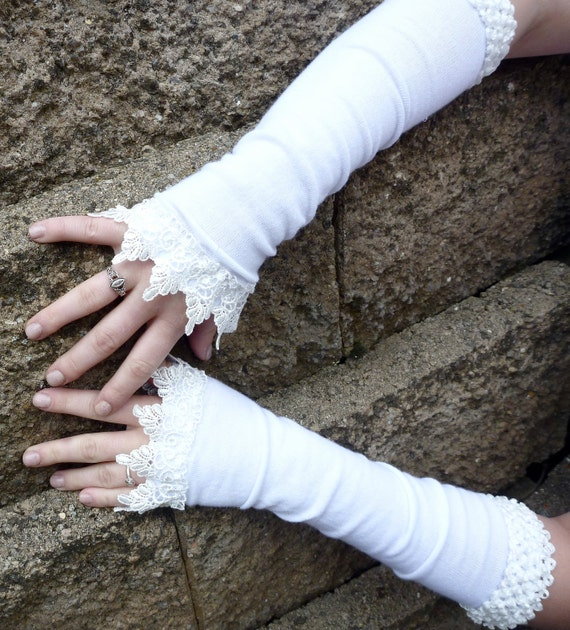 Long White Fingerless Gloves with White Stretch Trim and Venetian Lace -- Bridal Wedding Accessories -- Spring Arm Warmers