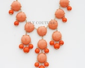 Orange - Coral Bauble Statement Necklace