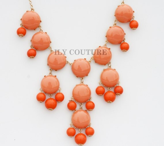 Orange - Coral Bauble Statement Necklace