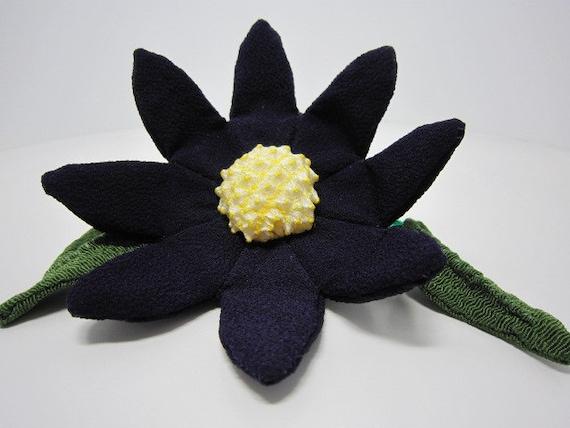 Dark Purple Flower made of JAPANESE KIMONO cloth