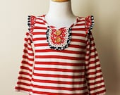 Red White Stripe -Girly Grunge Top by Juliette Sunshine Sample Sale- Toddler Girls Size 2T. Ready to ShipRecycled cotton. Eco-friendly.