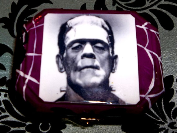 Upcycled Frankenstein and his Bride change purse