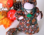 Thanksgiving Favour - Amish style handcrafted miniature doll with brown fall print dress