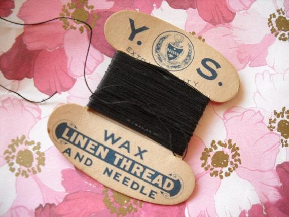 Vintage 1930s black waxed linen thread on original card - collectible