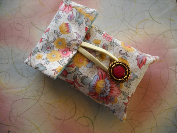 Stylised Floral Print Cotton Tissue Pouch / Holder - chunky bronze / red button