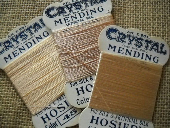 Vintage hosiery stocking mending threads - three cards in shades of beige and light brown - 1940s