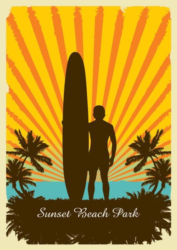 Sunset Beach Park - Retro Surf Art Print