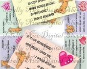 Craft supplies Scrapbooking Digital collage sheet St Valentines color images Rectangle 3 X 2 inches 33020141