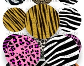 Craft supplies Scrapbooking Digital collage sheet Animal print color images Round 2,5 X 2,5 inches No 42525168