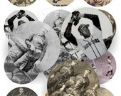 Craft supplies Scrapbooking Digital collage sheet baseball vintage color images Round 2,5 X 2,5 inches No 42525276