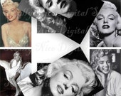Craft supplies Scrapbooking Digital collage sheet Marilyn Monroe vintage color images rectangle 3 X 2 inches No 33020284