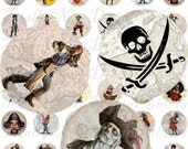 Craft supplies Scrapbooking Digital collage sheet Pirates drawins and images over vintage maps Round No 41010295