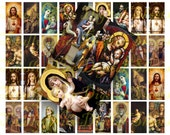 Craft supplies Scrapbooking Digital collage sheet Catholic vintage religious color images Rectangle 1 X 2 inches No 31020326