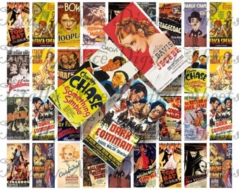 Craft supplies Scrapbooking Digital collage sheet 1930s Movies images Rectangle 1 X 2 inches 31020091