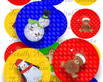 Craft supplies Scrapbooking Digital collage sheet Christmas Characters color images Round 2,5 X 2,5 inches 42525133