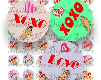 Craft supplies Scrapbooking Digital collage sheet St Valentines color images Round 1 X 1 inches 41010148