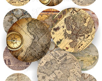 Craft supplies Scrapbooking Digital collage sheet antique maps vintage color images Round 2,5 X 2,5 inches No 42525266